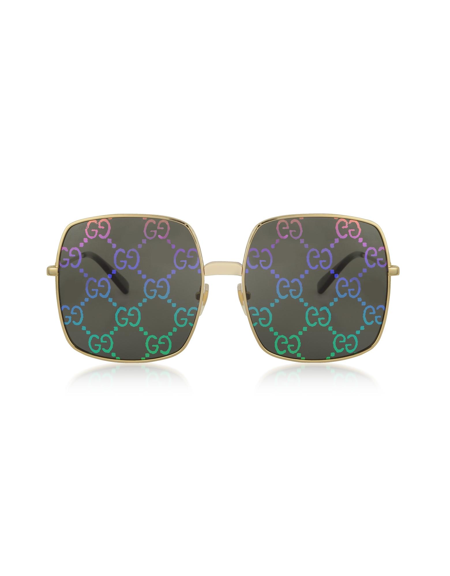 Gucci Sunglasses, Rectangular-frame Metal Sunglasses w/ GG Pattern Lenses