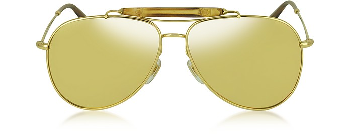 GG 2235/N/S 705IJ Gold Plated Aviator with Bamboo Women's Sunglasses - Gucci