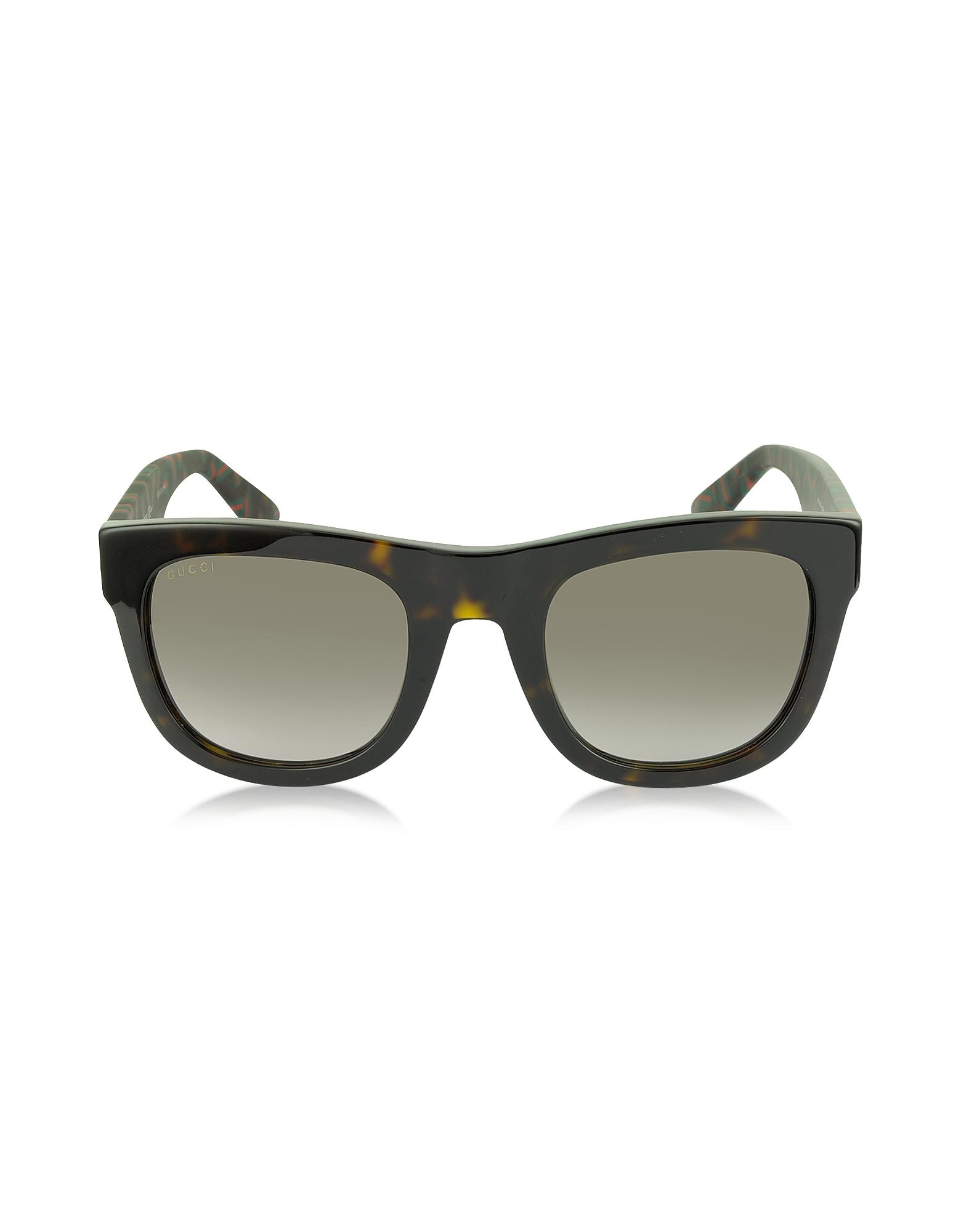 Gucci GG 1100/S H30HA - Солнечные Очки в Прямоугольной Темной Прямоугольной Оправе Гавана с Красной и Зеленой Паутиной