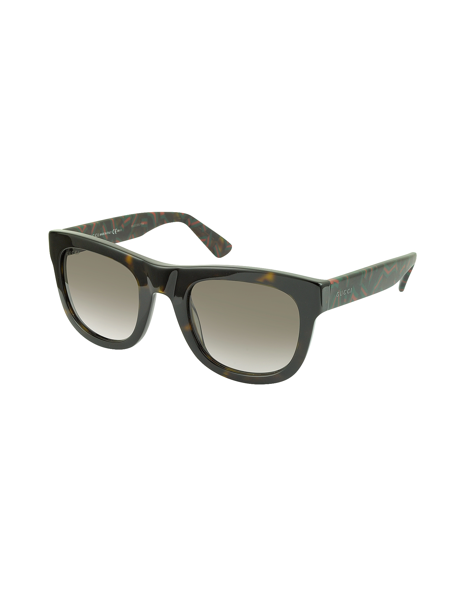 GG 1100/S H30HA Dark Havana Acetate Rectangle Sunglasses w/Red & Green Web Detail от Forzieri.com INT
