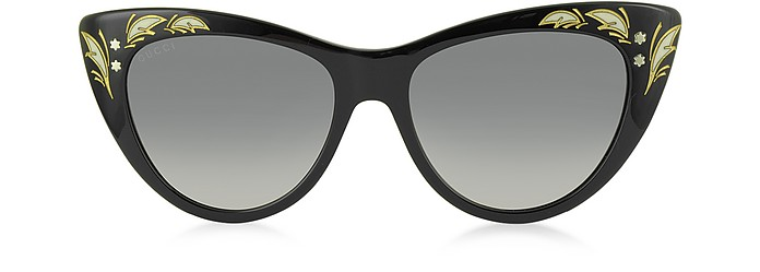 GG 3806/S 807DX Black Acetate Oversized Cat Eye Women's Sunglasses - Gucci