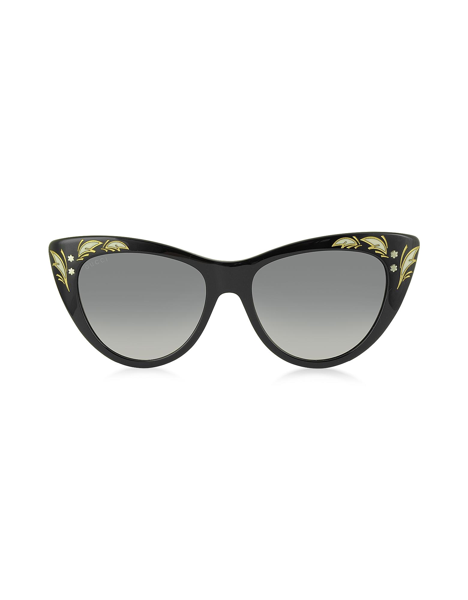 GG 3806/S 807DX - Большие Черные Женские Солнечные Очки в Оправе Кошачий Глаз из Ацетата