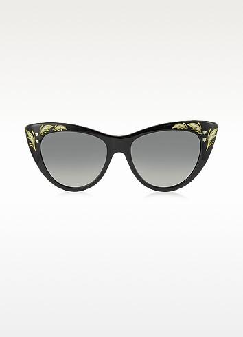 GG 3806/S 807DX Black Acetate Oversized Cat Eye Women's Sunglasses - Gucci