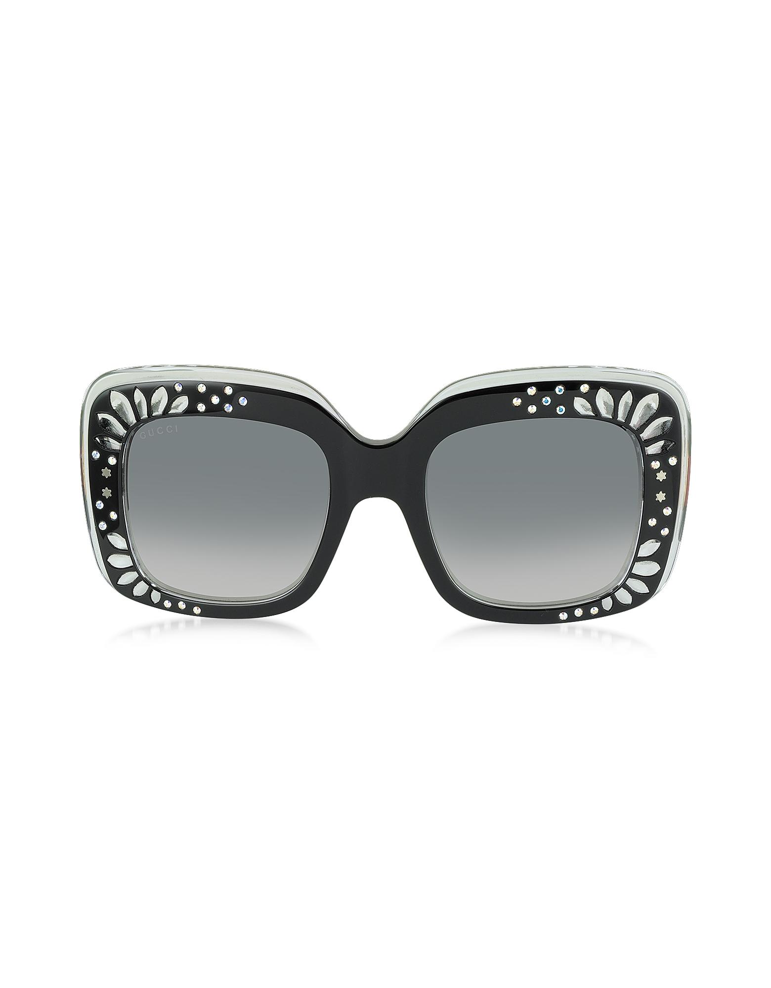 Gucci GG 3862/S YL1VK - Большие Черные Женские Солнечные Очки в Квадратной Оправе из Ацетата с Кристаллами