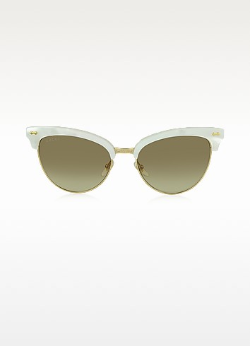 GG 4283/S U29JD White Acetate & Gold Metal Cat Eye Women's Sunglasses - Gucci