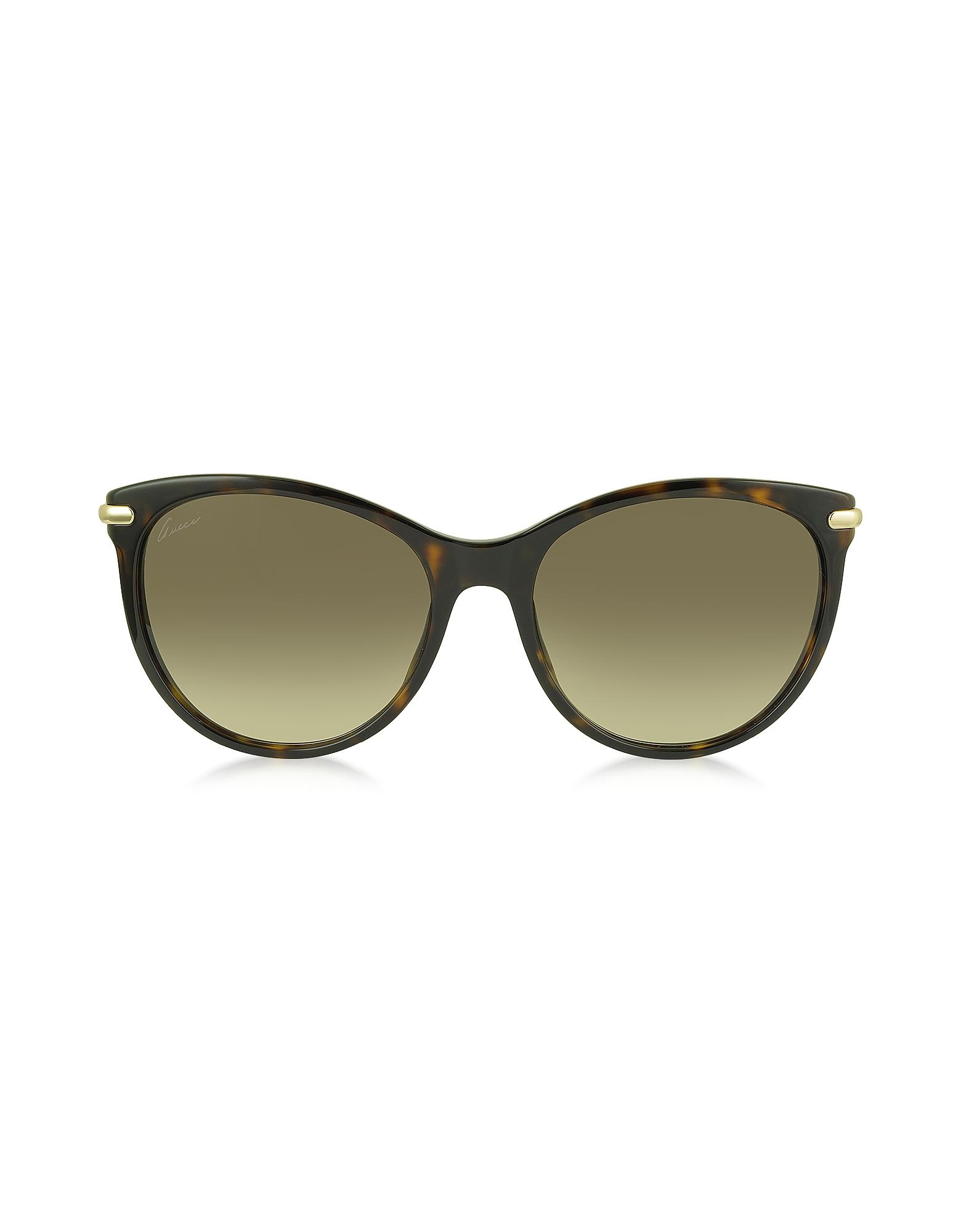 GG 3771/S LVLCC - Женские Солнечные Очки в Оправе Кошачий Глаз из Ацетата Гавана с Бамбуковыми Дужками