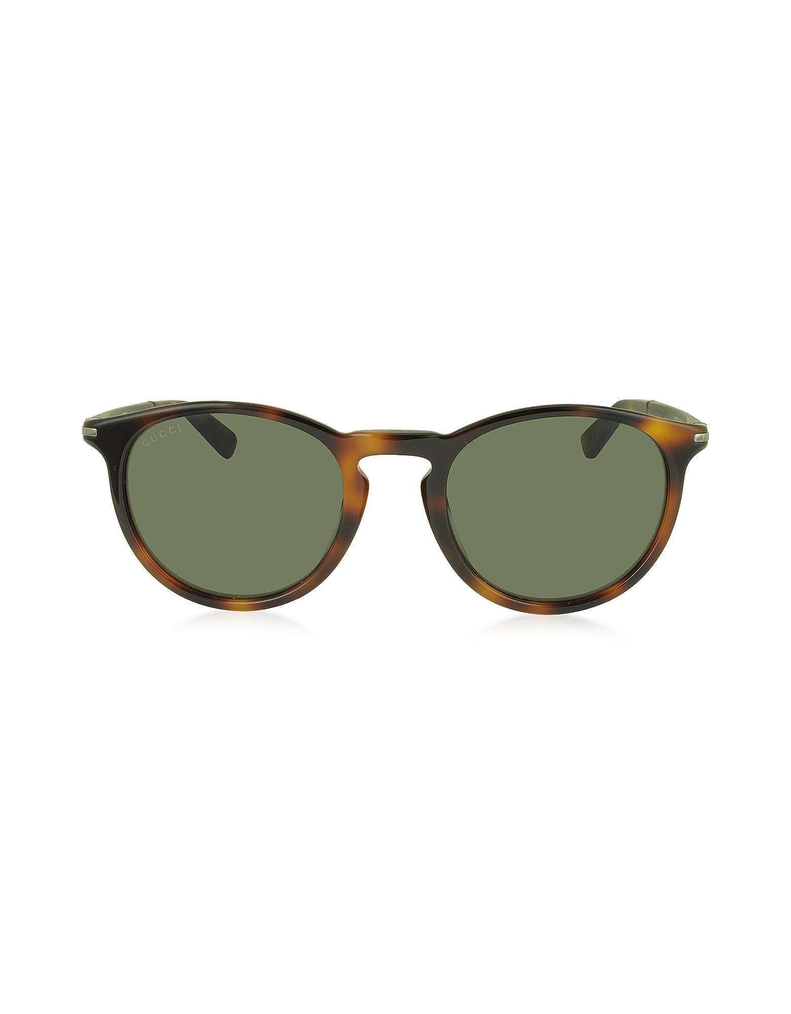 GG 1110/S 8E270 - Мужские Солнечные Очки в Круглой Оправе из Ацетата Гавана
