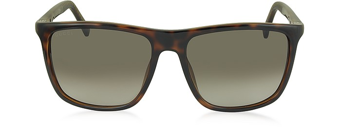 GG 1132/S DWJHA Havana Acetate Square Frame Men's Sunglasses - Gucci