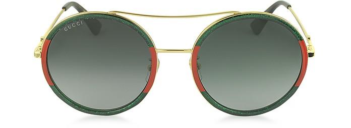GG0061S Acetate and Gold Metal Round Aviator Women's Sunglasses - Gucci
