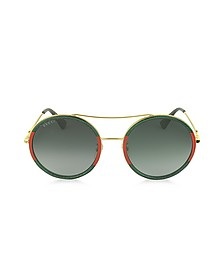 GG0061S Acetate and Gold Metal Round Women's Sunglasses - Gucci
