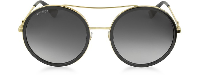 GG0061S Acetate and Gold Metal Round Aviator Women's Sunglasses - Gucci