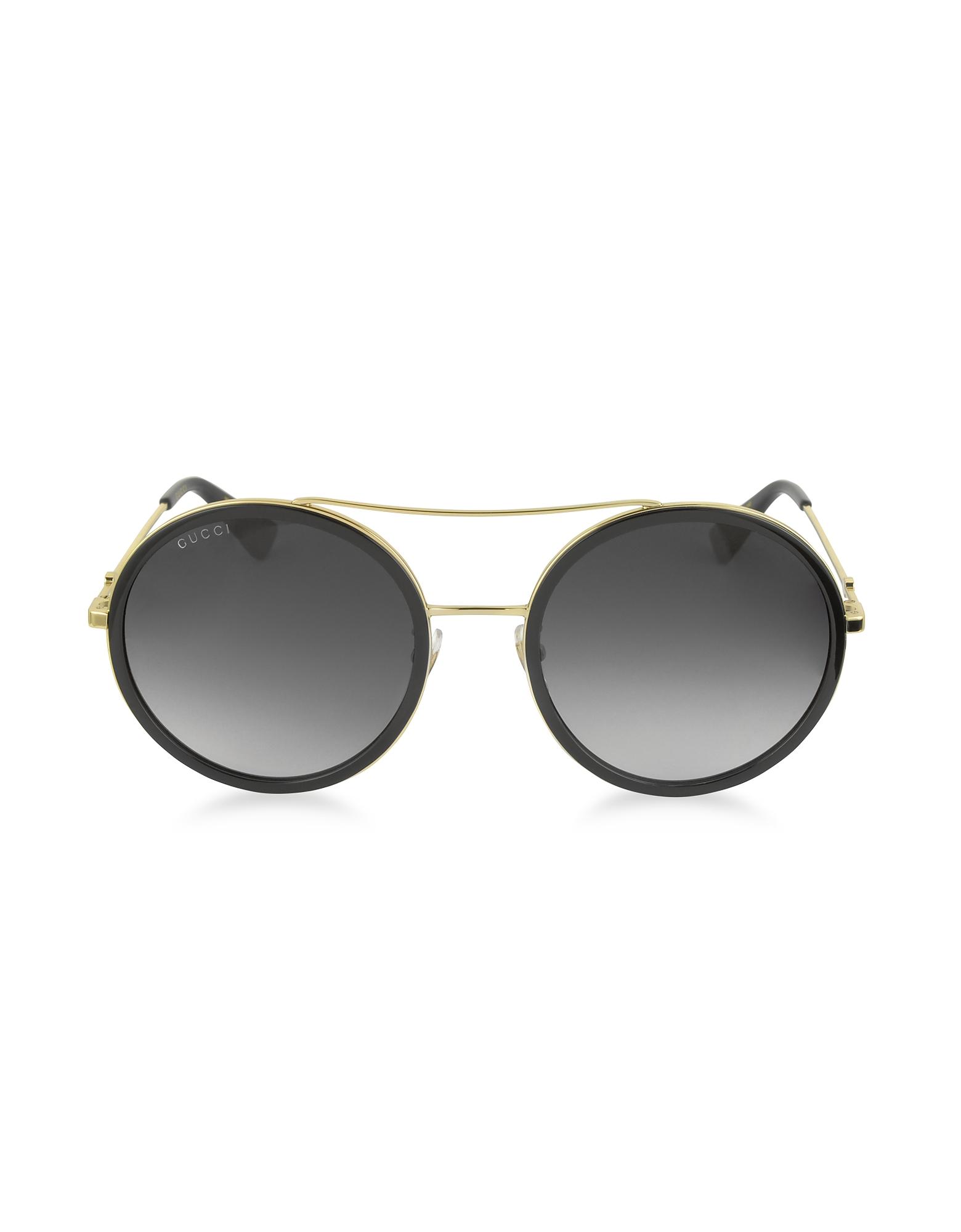 Gucci Designer Sunglasses, GG0061S Acetate and Gold Metal Round Aviator Women's Sunglasses