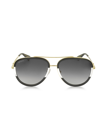 Gucci GG0062S 006 Black White Acetate and Gold Metal Aviator Womens Sunglasses