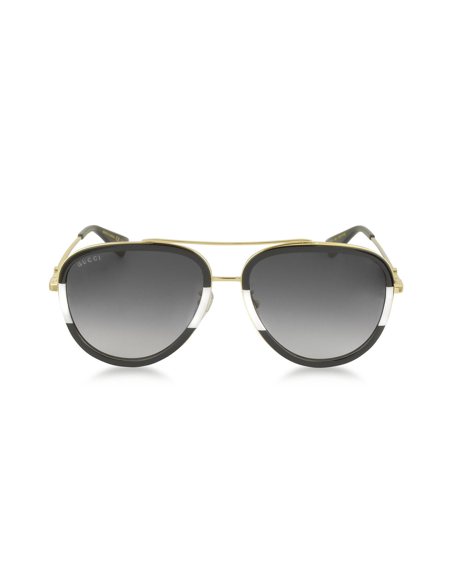 Gucci Sunglasses, GG0062S 006 Black/White Acetate and Gold Metal Aviator Women's Sunglasses