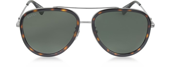 GG0062S 002 Havana Acetate and Silver Metal Aviator Women's Sunglasses - Gucci