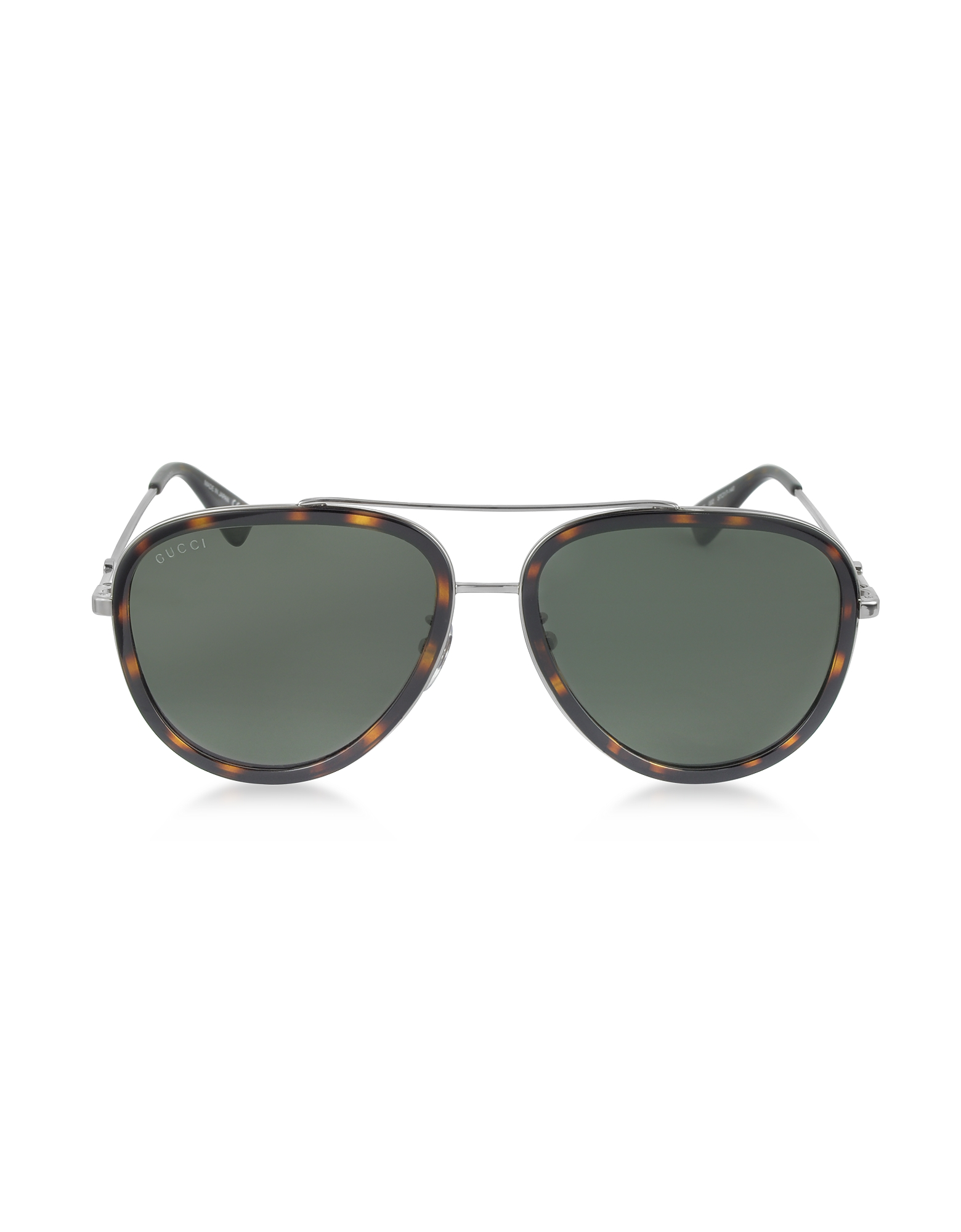 Gucci Designer Sunglasses, GG0062S 002 Havana Acetate and Silver Metal Aviator Women's Sunglasses