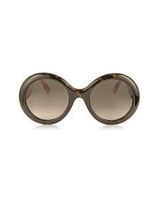 GG0101S 醋酸圆形女士太阳镜配闪粉太阳穴 - Gucci 古奇