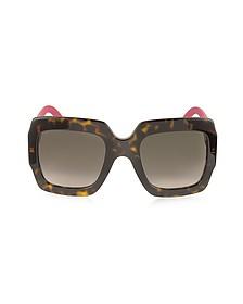 GG0053S - Оптиловые Квадратные Женские Солнечные Очки с Блестящими Дужками - Gucci