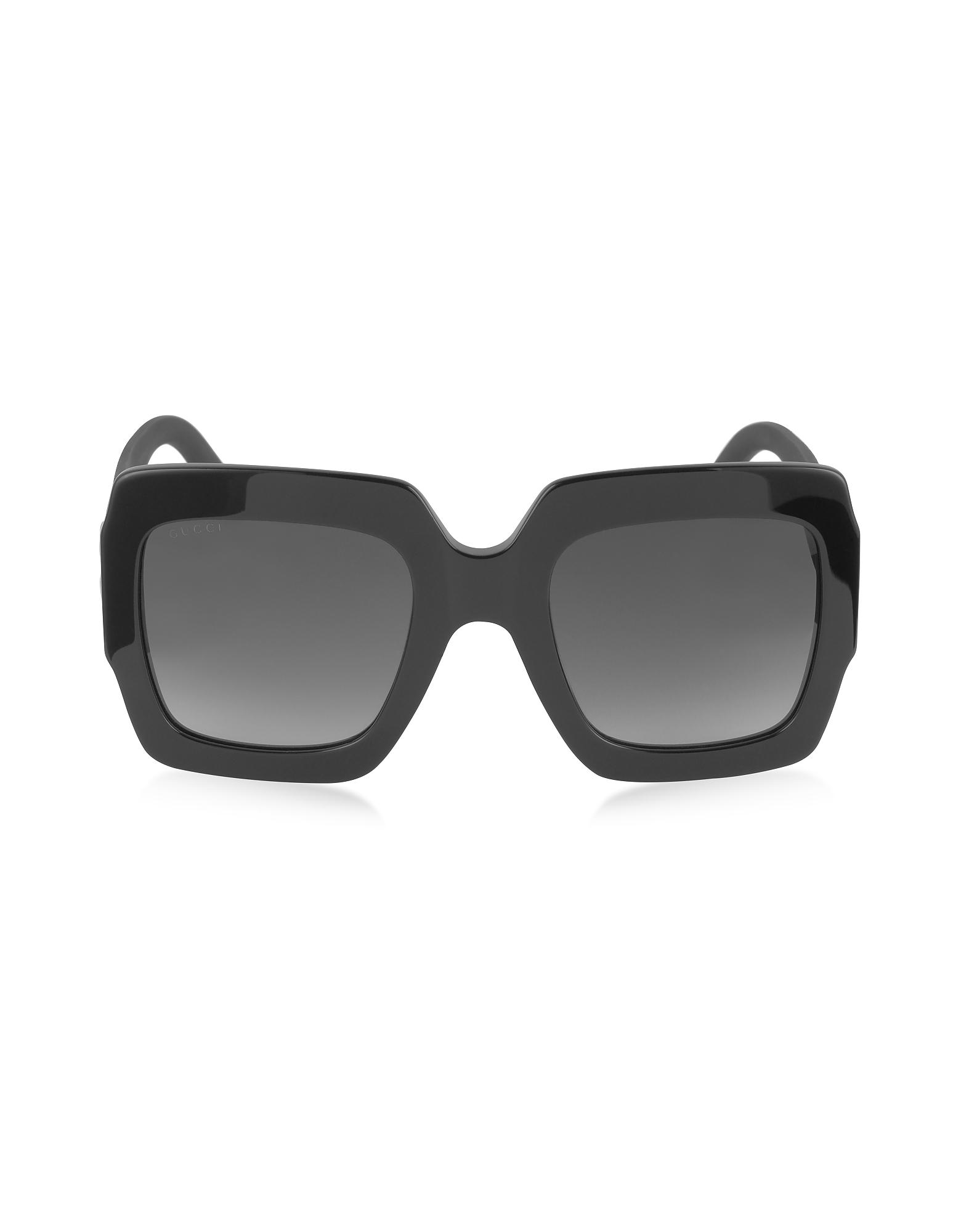 Gucci Sunglasses, GG0053S Optyl Square Women's Sunglasses w/Glitter Temples