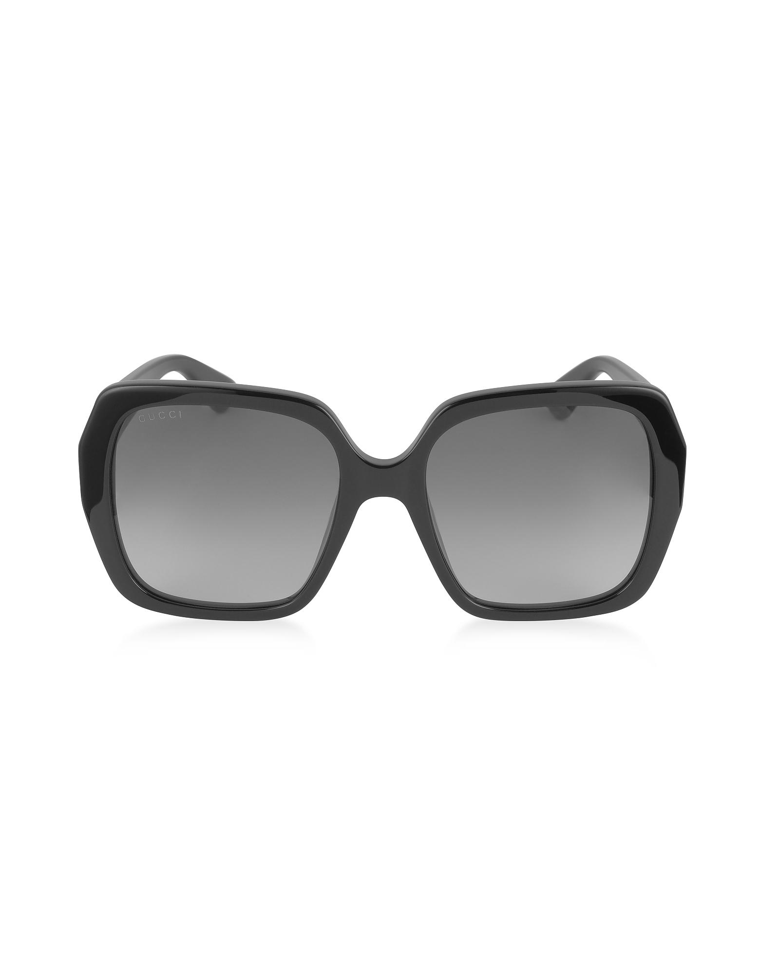 GG0053S 001 - Черные Квадратные Женские Солнечные Очки из Ацетата