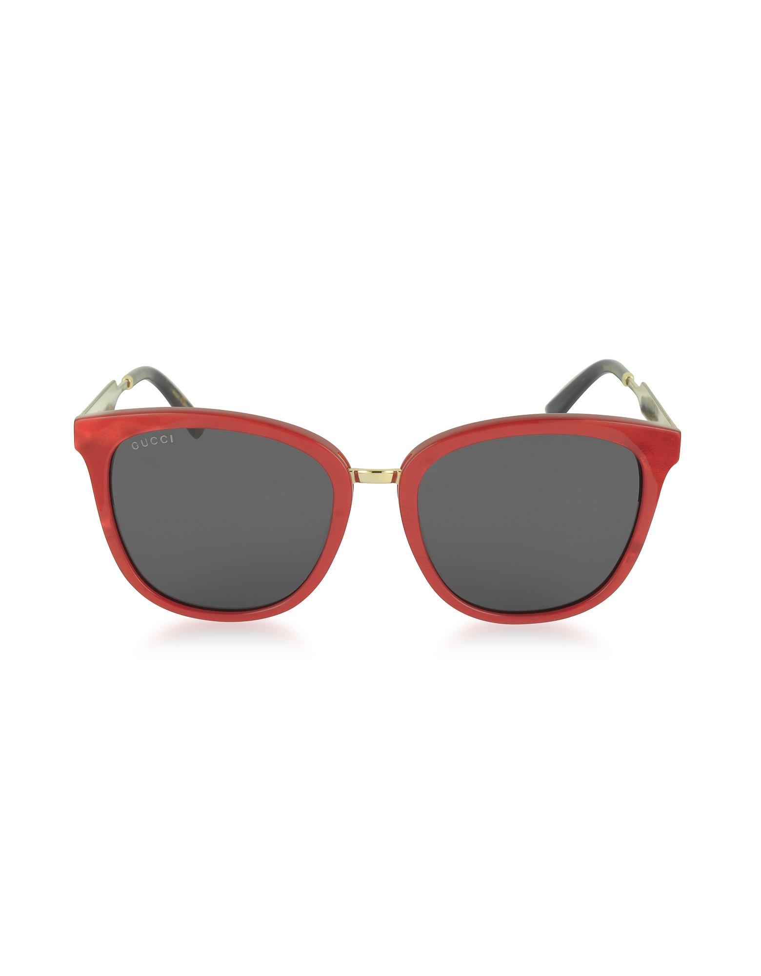 Gucci Sunglasses, GG0073S Acetate and Gold Metal Round Women's Sunglasses