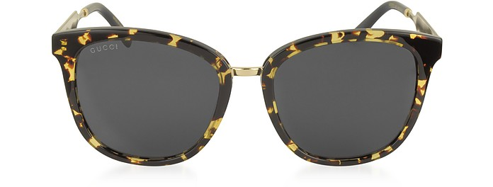 GG0073S Acetate and Gold Metal Round Women's Sunglasses - Gucci
