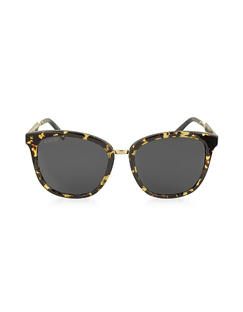 Gucci - GG0073S Acetate and Gold Metal Round Women's Sunglasses