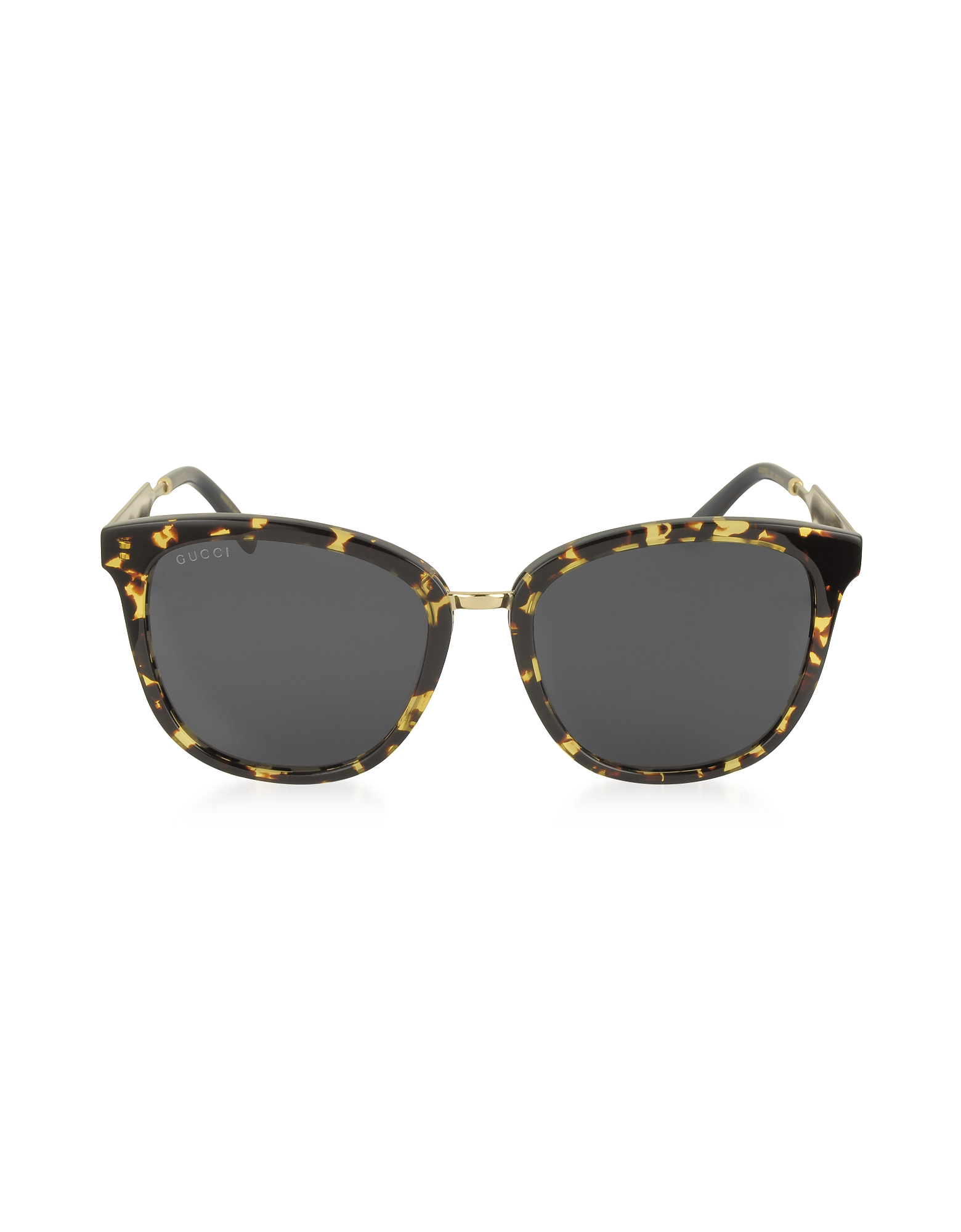 Gucci Designer Sunglasses, GG0073S Acetate and Gold Metal Round Women's Sunglasses