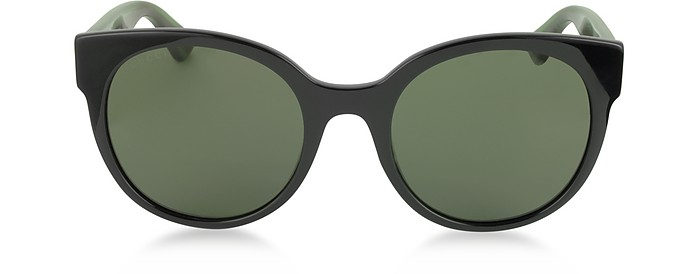 GG0035S 002 Black Optyl Round Women's Sunglasses w/Red-Green Glitter Temples - Gucci