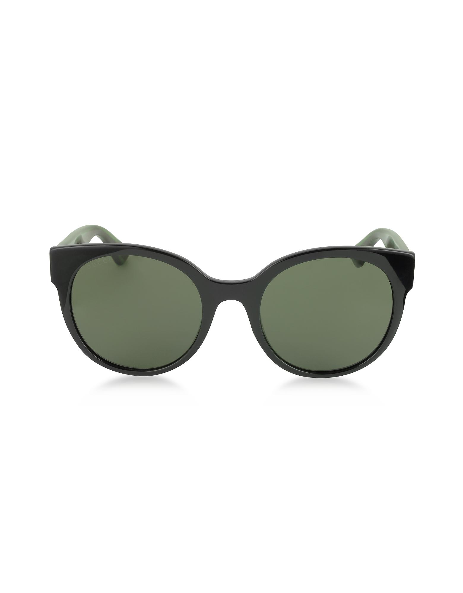 GG0035S 002 - Черные Круглые Оптиловые Женские Солнечные Очки с Красно-Зелеными Блестящими Дужками