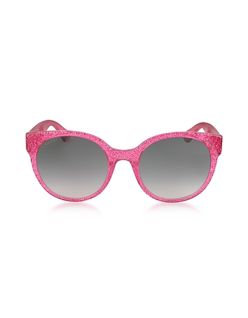 80628afac35bb GG0035S 005 Fuchsia Glitter Optyl Round Women s Sunglasses from Gucci at  FORZIERI Official Site