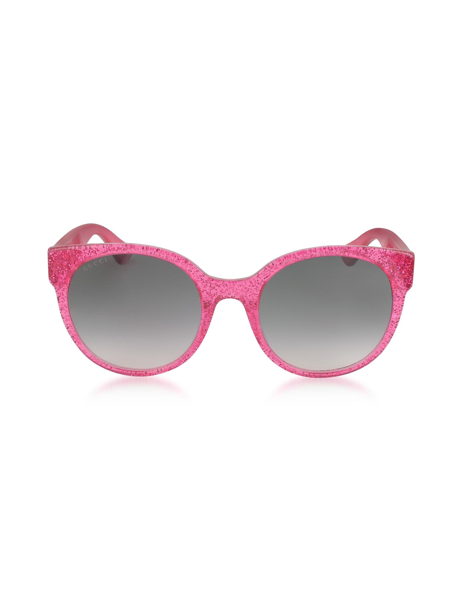 Gucci Sunglasses, GG0035S 005 Fuchsia Glitter Optyl Round Women's Sunglasses