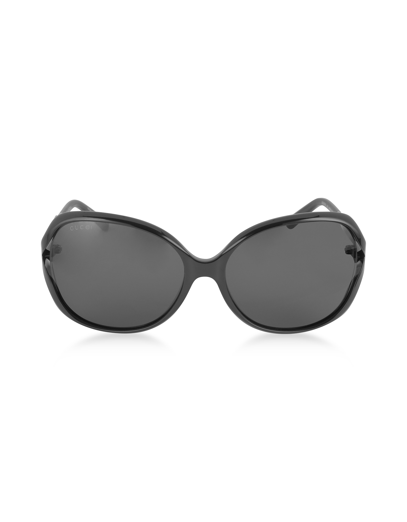 Gucci Sunglasses, GG0076S 001 Black Acetate and Gold Metal Round Oversized Women's Sunglasses