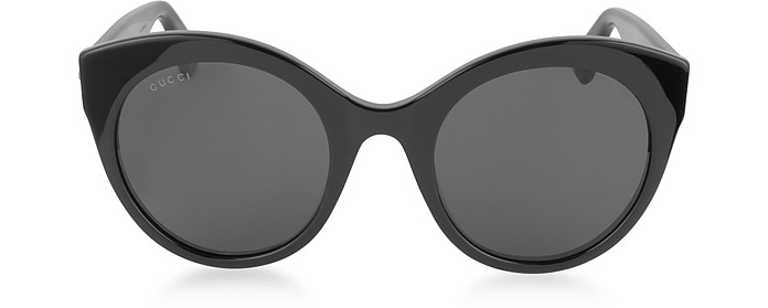 GG0028S 001 Black Acetate Cat Eye Oversized Women's Sunglasses - Gucci