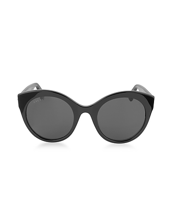 Gucci - GG0028S 001 Black Acetate Cat Eye Oversized Women's Sunglasses