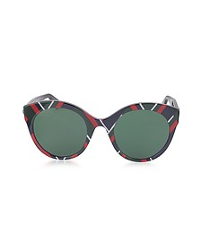 GG0028S 010 Chevron Acetate Cat Eye Oversized Women's Sunglasses - Gucci