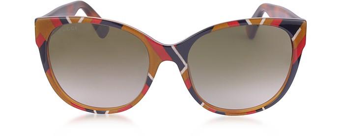 GG0097S 004 Chevron Acetate Cat Eye Women's Sunglasses - Gucci