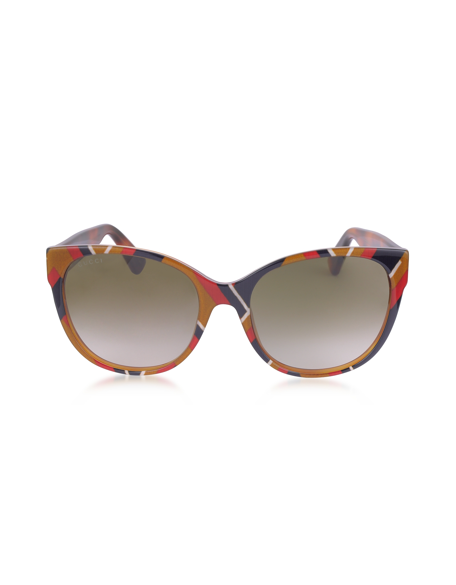Gucci Sunglasses, GG0097S 004 Chevron Acetate Cat Eye Women's Sunglasses