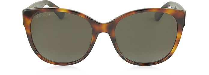 GG0097S 006 Havana Acetate Cat Eye Women's Polarized Sunglasses - Gucci