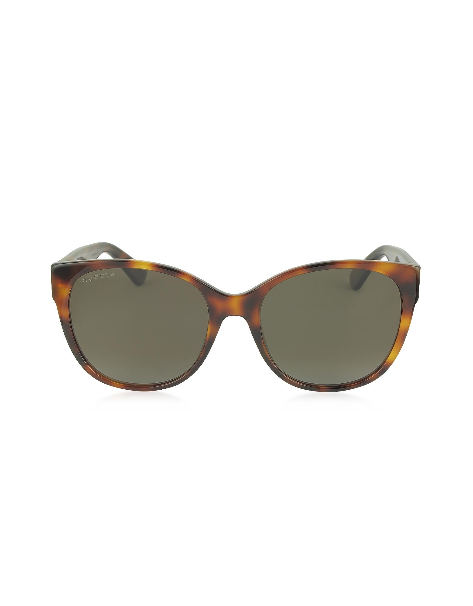 Gucci Designer Sunglasses, GG0097S 006 Havana Acetate Cat Eye Women's Polarized Sunglasses