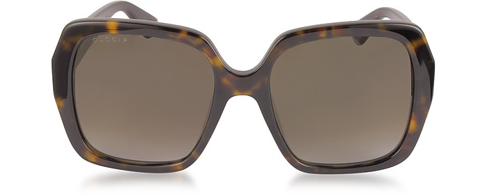 GG0096S 006 Havana Acetate Square Women's Polarized Sunglasses - Gucci