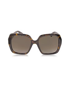 GG0096S 006 Havana Acetate Square Women's Sunglasses - Gucci