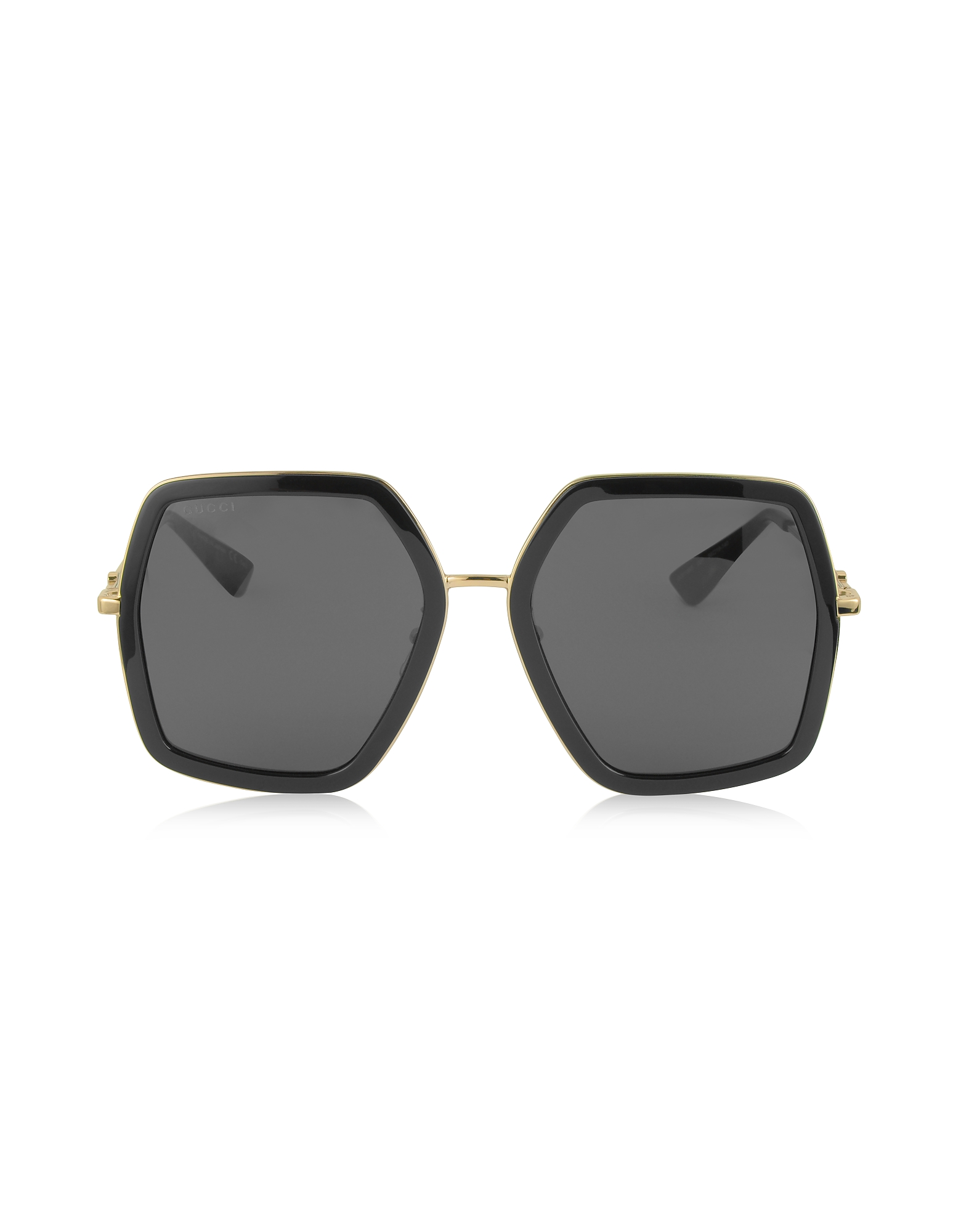 Gucci Sunglasses, GG0106S 001 Black Acetate and Gold Metal Square Oversized Women's Sunglasses