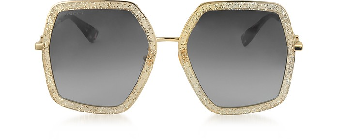 GG0106S 005 Gold Glitter Acetate and Metal Square Oversized Women's Sunglasses - Gucci
