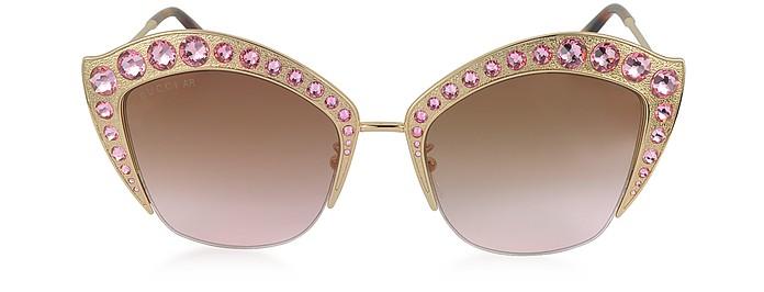 GG0114S Metal Cat Eye Women's Sunglasses w/Crystals - Gucci