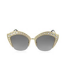 GG0114S Metal Cat Eye Women's Sunglasses w/Crystals - Gucci