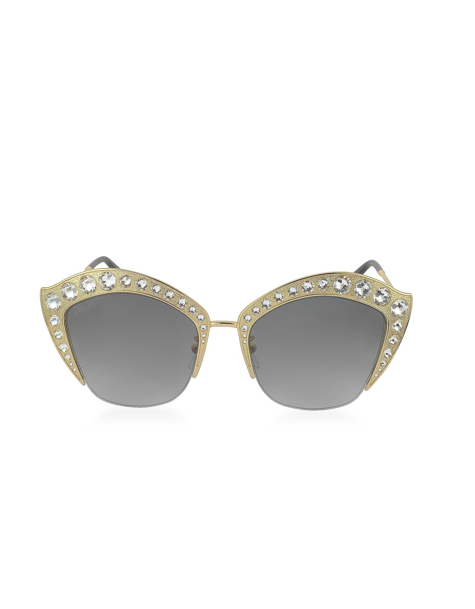 Gucci Designer Sunglasses, GG0114S Metal Cat Eye Women's Sunglasses w/Crystals