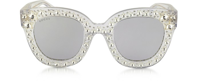 GG0116S Acetate Cat Eye Women's Sunglasses w/Stars feature star worthy retro  - Gucci
