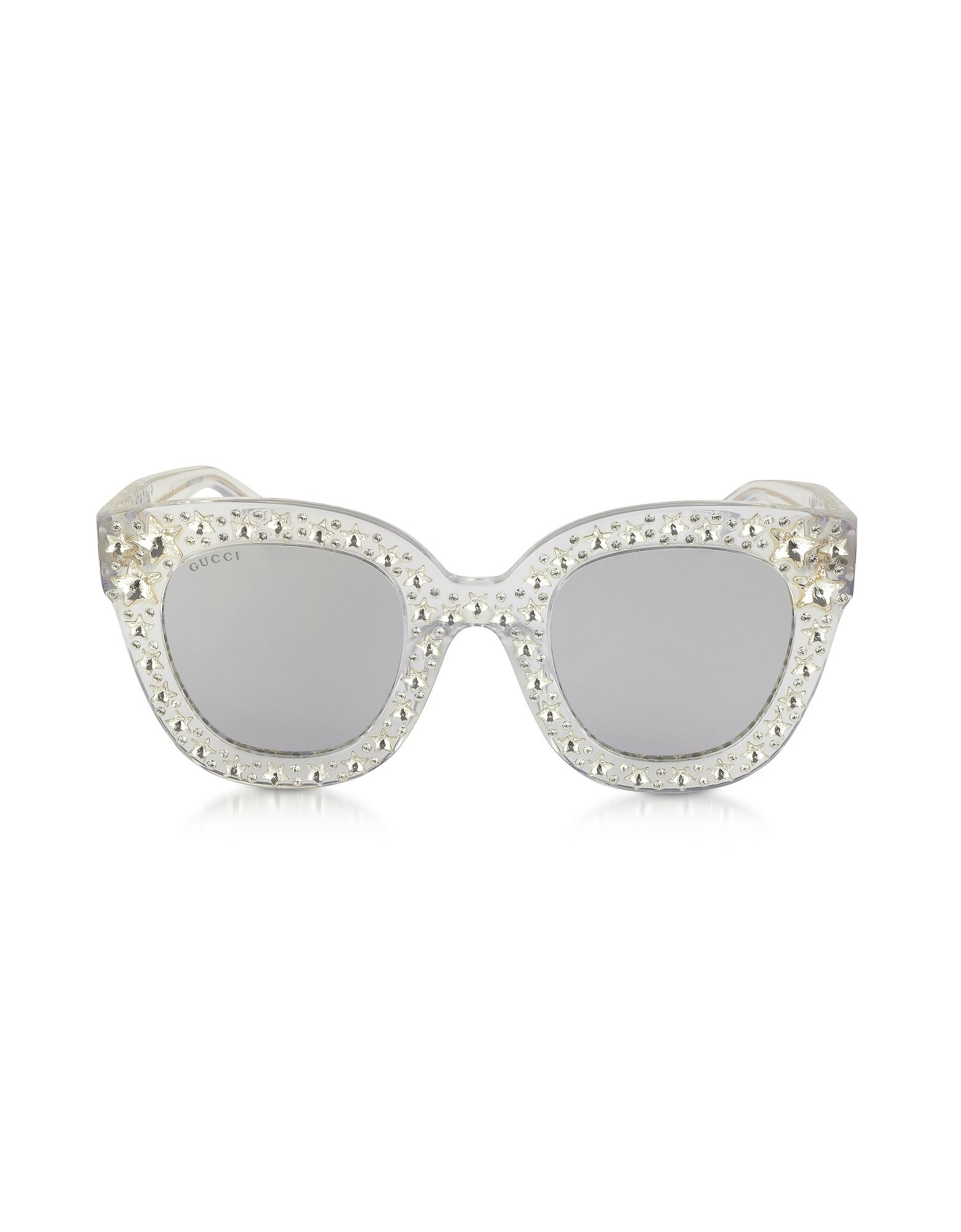 Gucci Sunglasses, GG0116S Acetate Cat Eye Women's Sunglasses w/Stars feature star worthy retro
