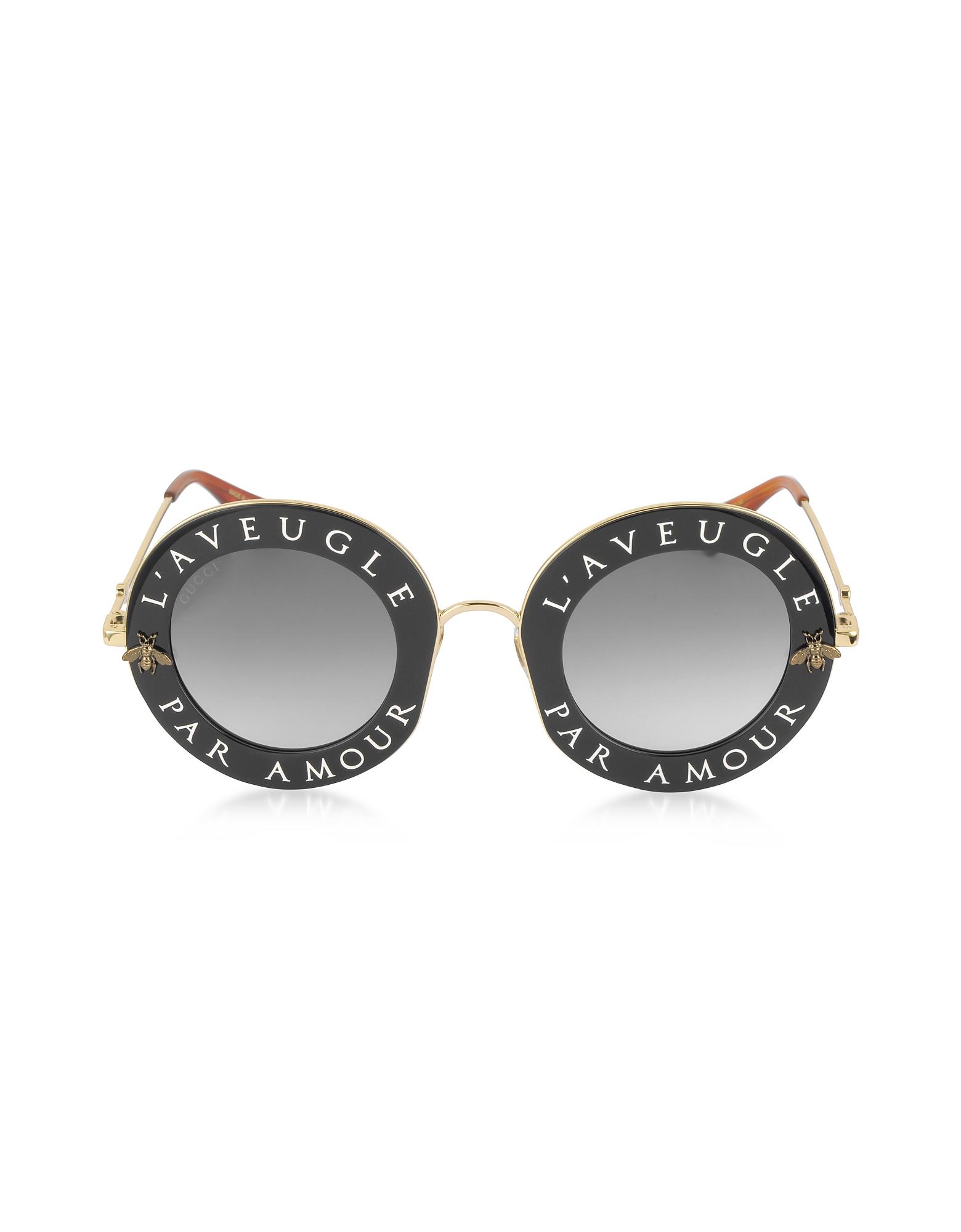 Gucci Sunglasses, GG0113S Acetate and Gold Metal Round Women's Sunglasses